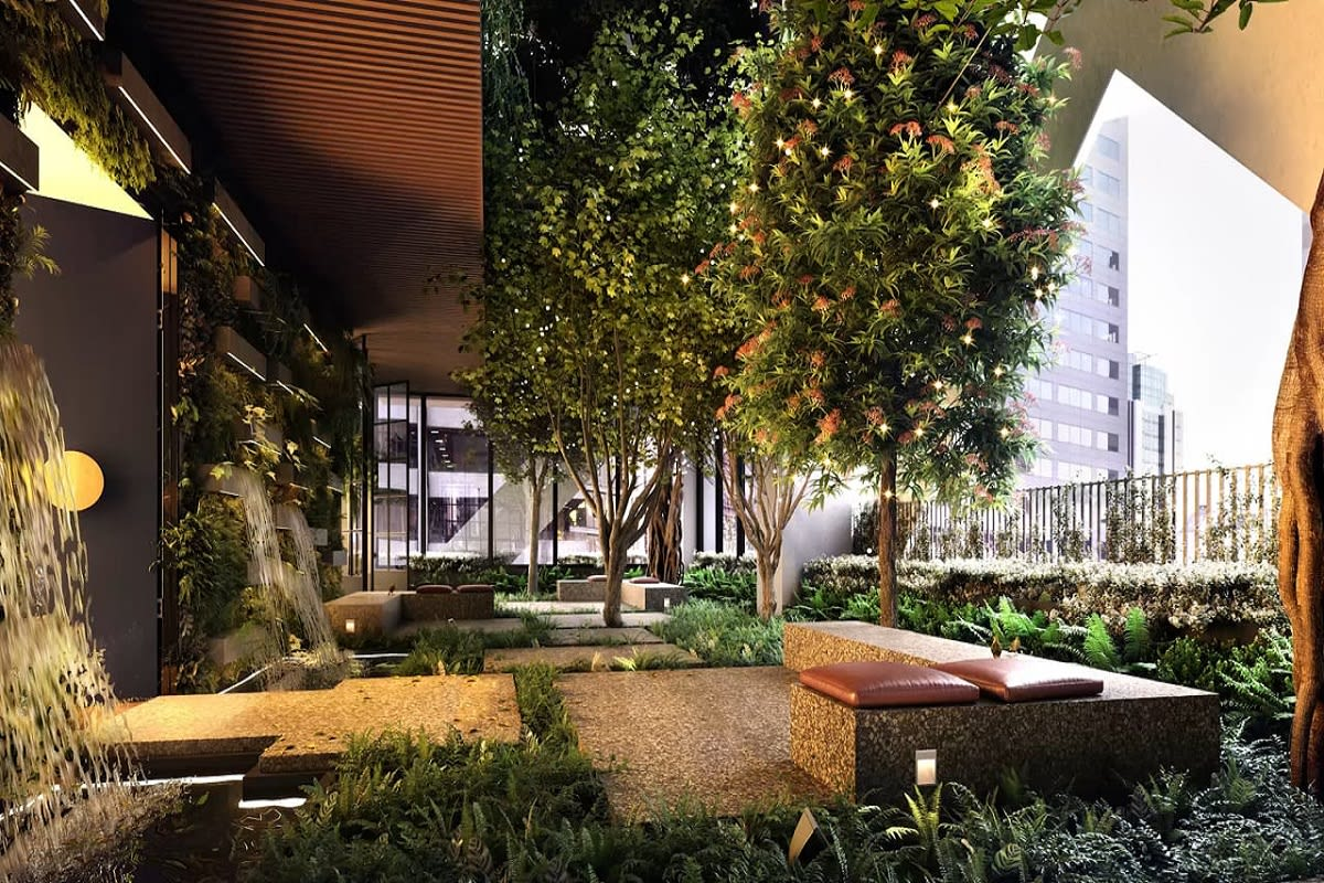 Rendering of Paragon's two level landscaped terrace.