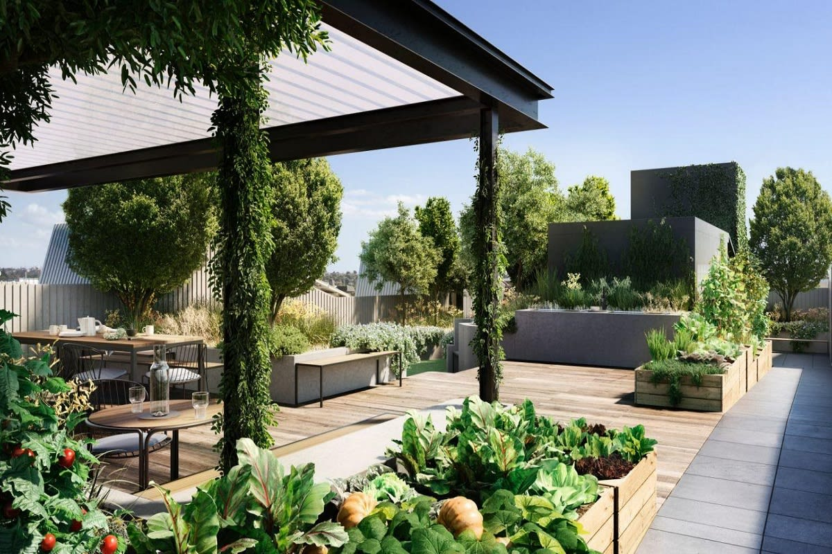 "Productive and green communal open space with deep soil canopy trees – Breese Street: <a href=""https://www.milieuproperty.com.au/space/breese-street-brunswick"">Render by Milieu</a>"