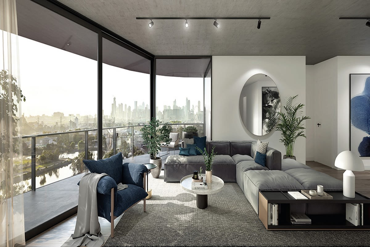 Rendering of a two bedroom apartment with river and city view.