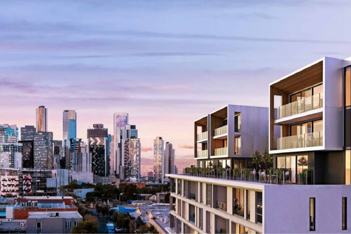 Rendering of Lilix Apartments with a front row Southbank and CBD view.