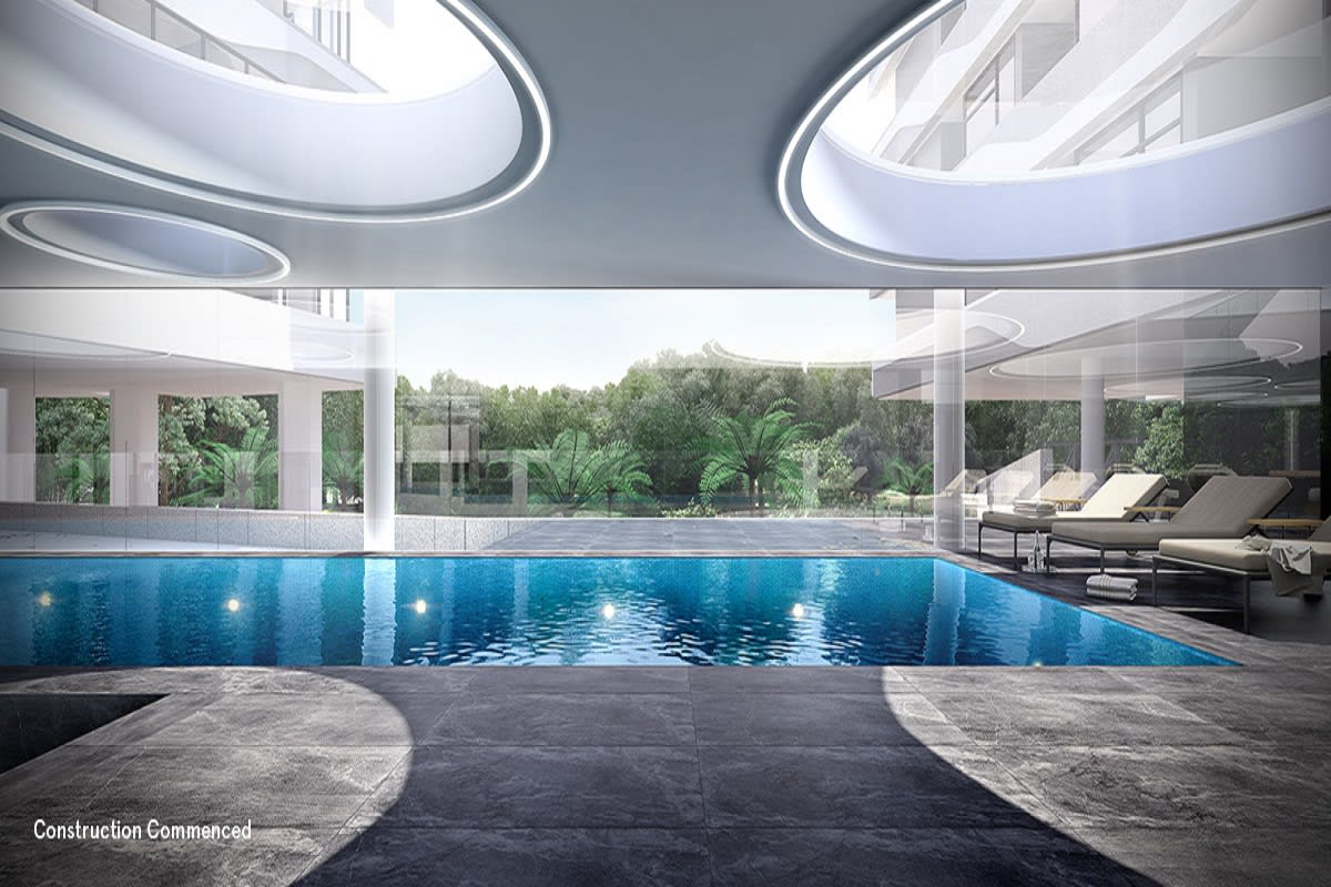 Rendering of The Park House pool deck with large round skylights.