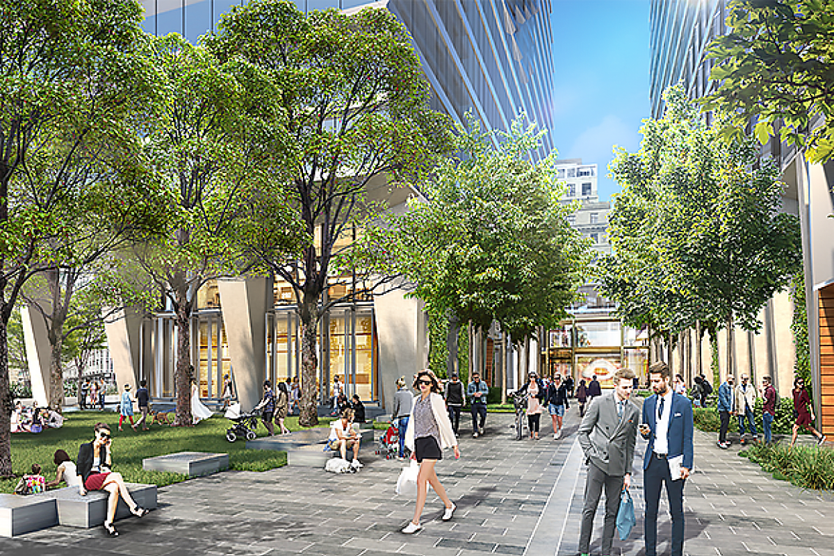 """""""Unlike anything else in the grid"""" – Collins Arch public space and a building without roofs"""