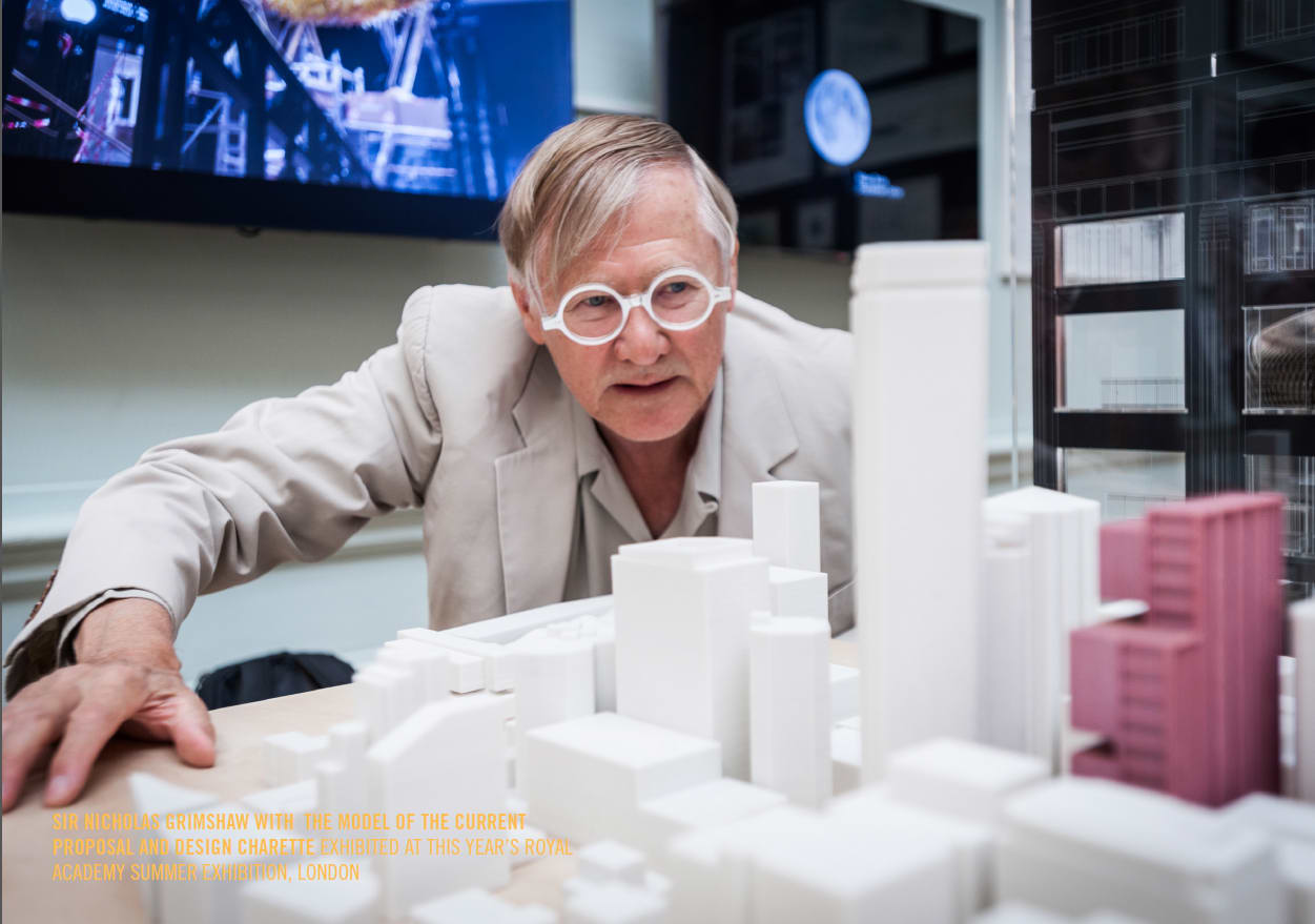 Sir Nicholas Grimshaw with the model for 477 Collins Street at The Royal Academy Summer Exhibition in London.