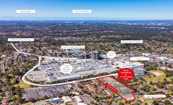 Super lot opposite Castle Towers Shopping Centre in Castle Hill listed