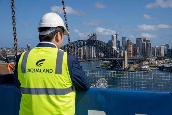 Aqualand celebrates tree-topping ceremony for Blue at Lavender Bay