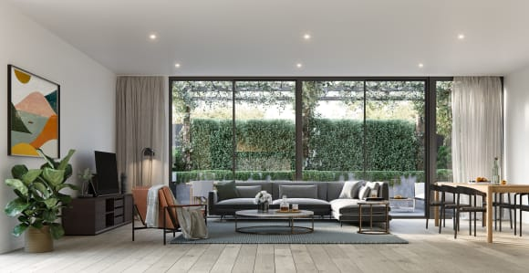Living area in one of the Lumiere residences. Image credit: Lowe Group