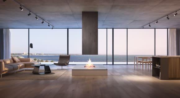 Alumuna's elegant open-plan living area. Credit: Woods Bagot