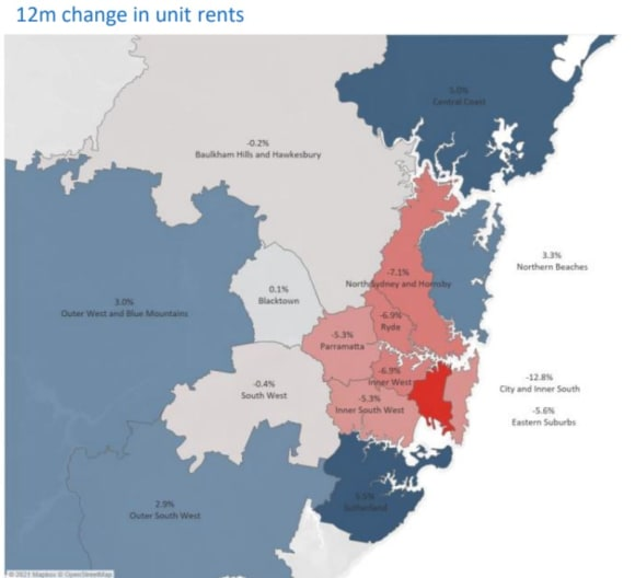 Sydney unit rental prices plummet, barely  ahead of Canberra