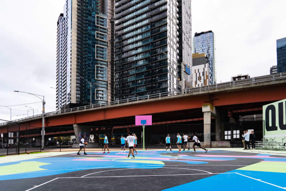 The future is in your court: Reko Rennie installs public art piece at residential Southbank project