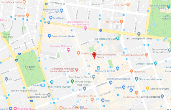 Aurora Melbourne Central location