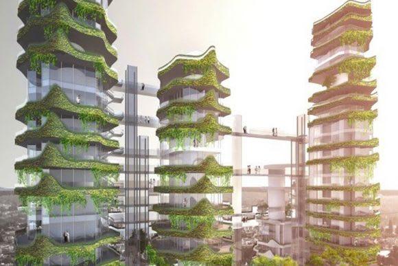 Futuristic vertical gardens. Credit: MAD Architects
