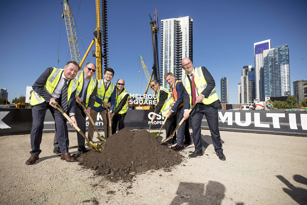 Soil turns on Stage 1 of Melbourne Square as piling nears completion