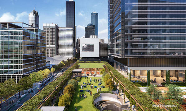 An overview of Melbourne Quarter's public spaces