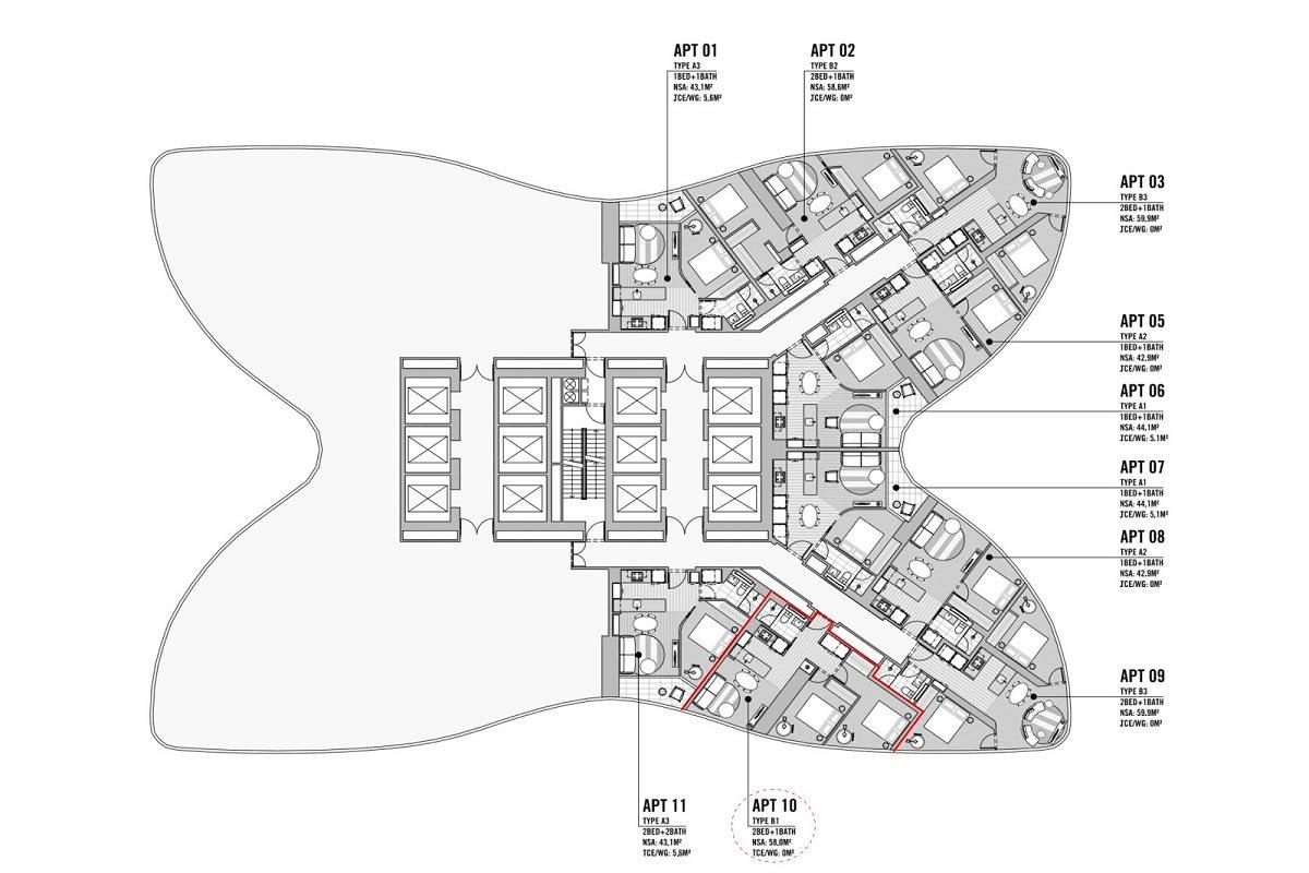 Aurora Melbourne Central floor plans