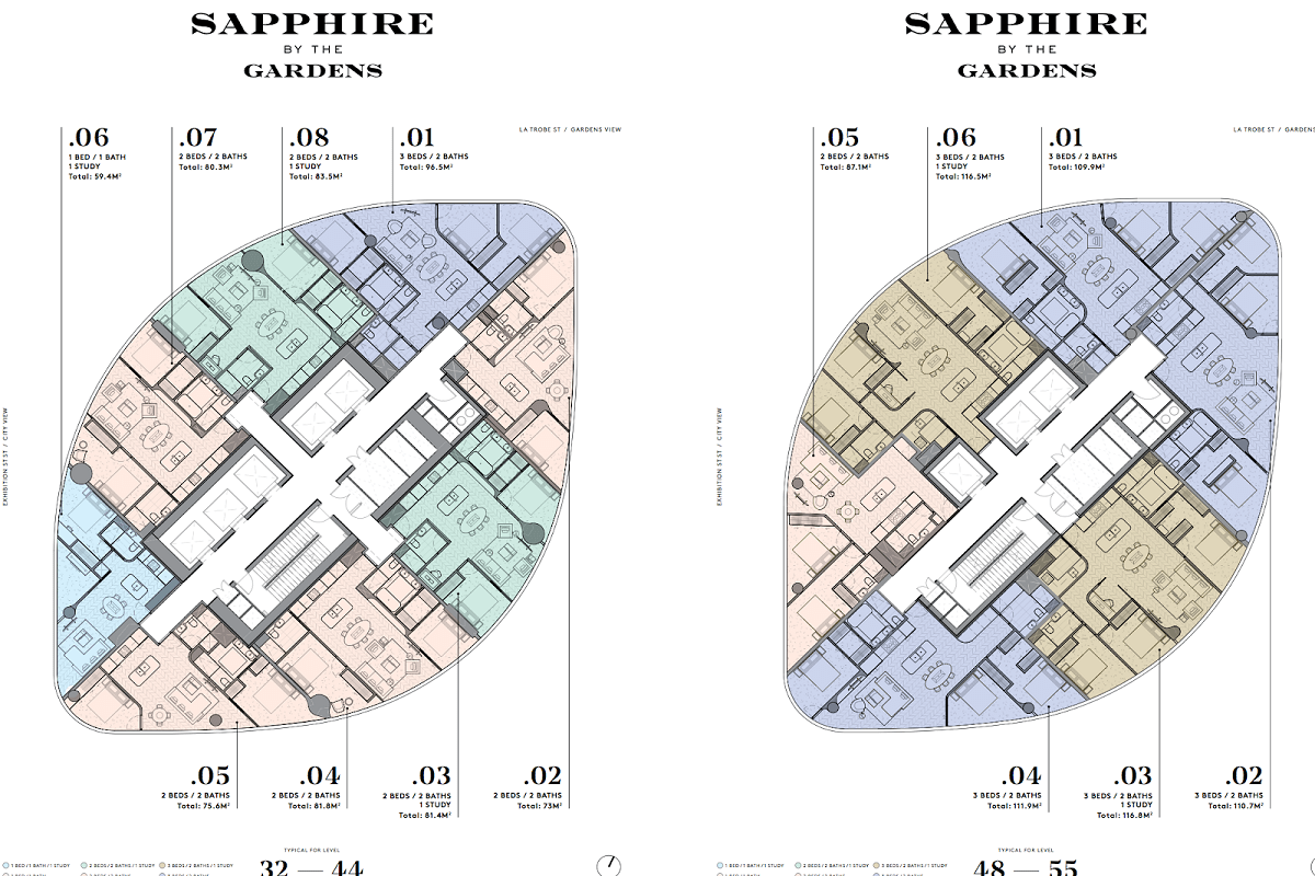 Sapphire by the Gardens floor plans