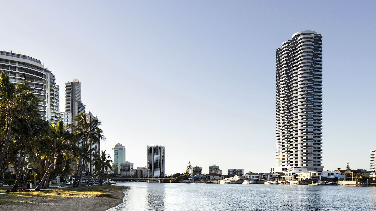 Urban discusses Surfers Paradise apartment block Chevron One with Bensons senior development manager Alberto Palombaro