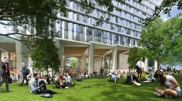 """Unlike anything else in the grid"" – Collins Arch public space and a building without roofs"