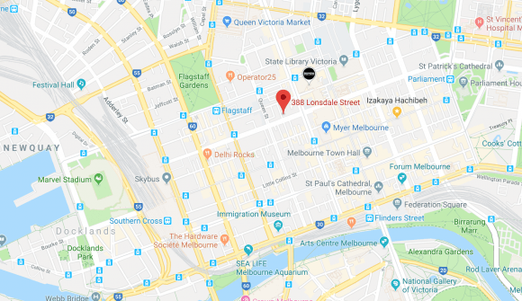 Location of 388 Lonsdale Street, Melbourne 3000. Image by Google Maps