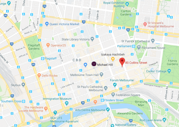 Location of 80 Collins Street in Melbourne CBD. Image Credit: Google Maps