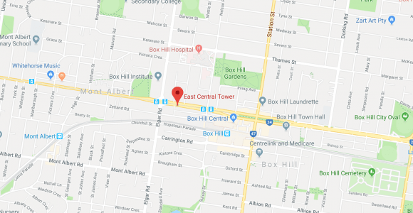 Location of East Central Tower, Box Hill. Image by Google Maps.