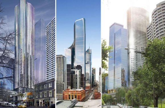 A'Beckett, Bourke and Flinders Street towers in the offing