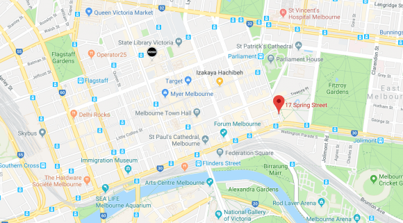 Location of 17 Spring Street in relation to its surroundings. Image by Google Maps