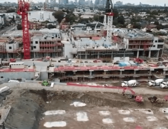 Images via drone footage from Builder's Hacer Group Instagram.