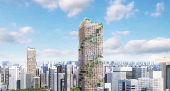 Timber high rise proposed for Tokyo. Credit: Dezeen