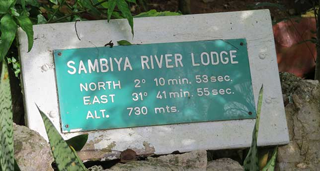 GPS coordinates of Sambiya River Lodge
