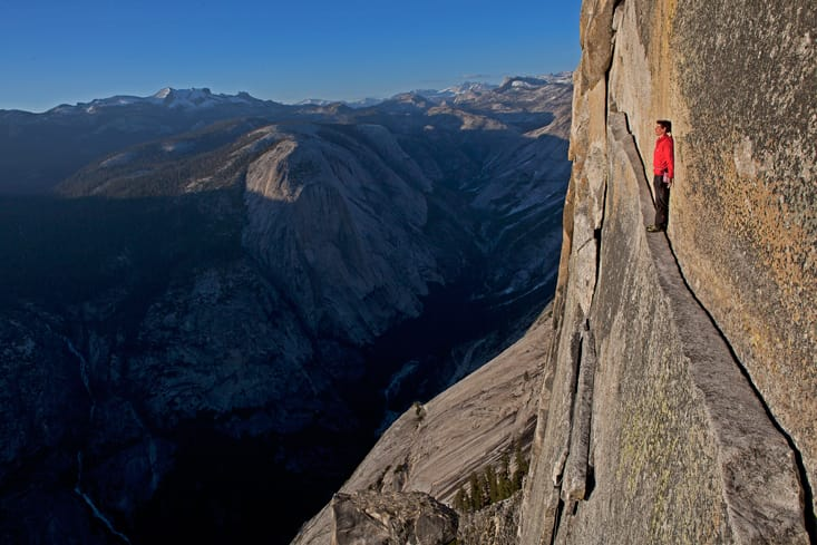 Honnold Crossing Thank God Ledge on Yosemite Face Out. Scarier this way