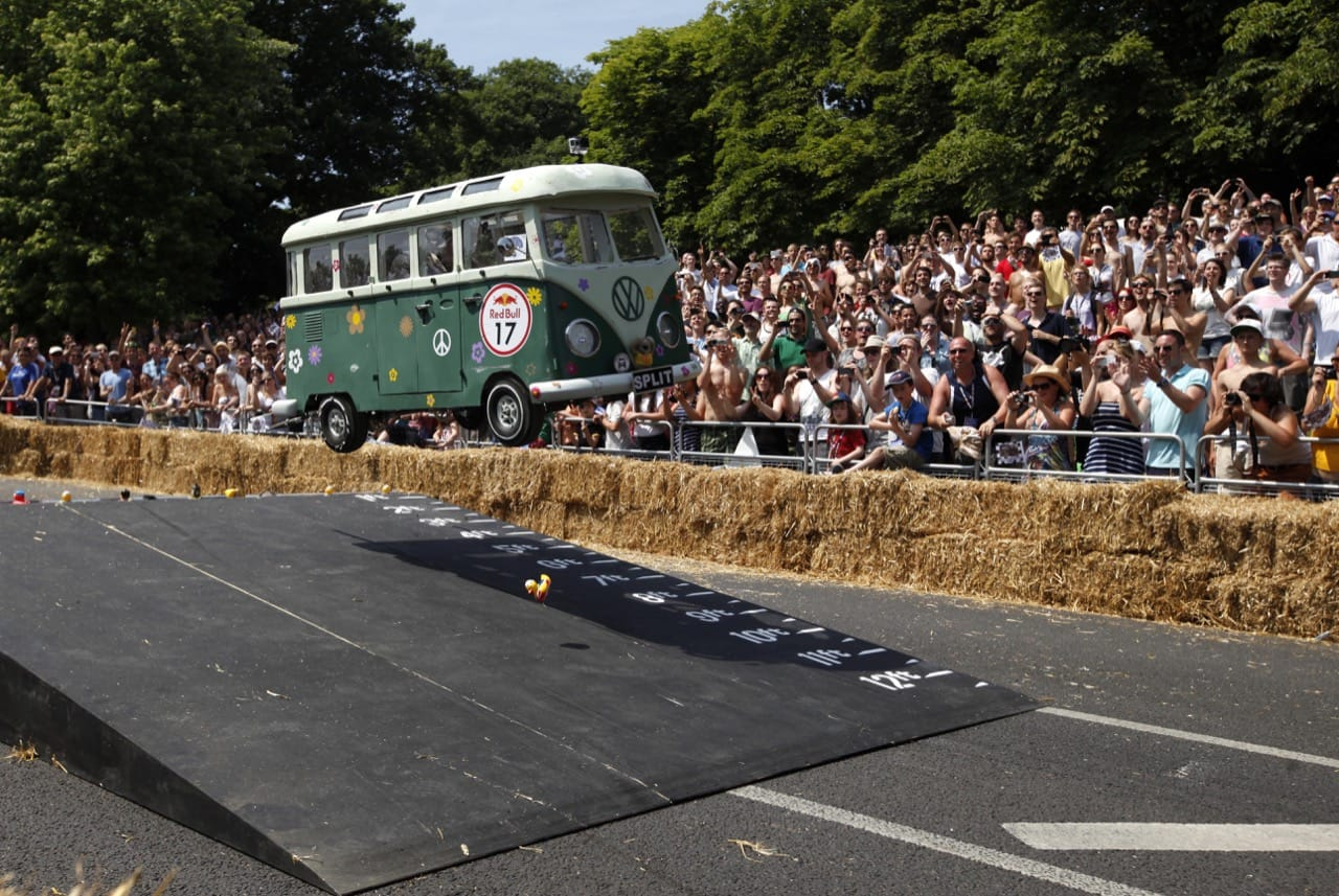 Tension in the air for this Soapbox racer at a Redbull Soapbox race.