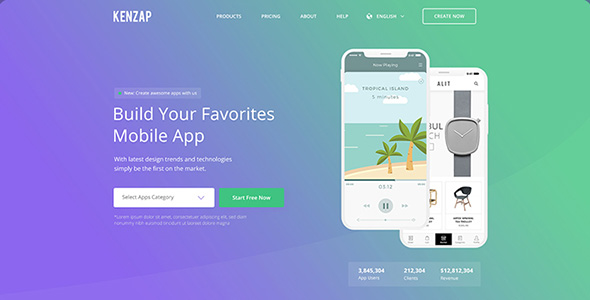 Kenzap - Creative Company Landing PSD Template