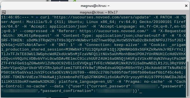 curl to update password
