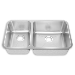 American Standard Prevoir Stainless Steel Undermount 31-1/2 Inch by 20-5/8 Inch 2-Bowl Combo Kitchen Sink