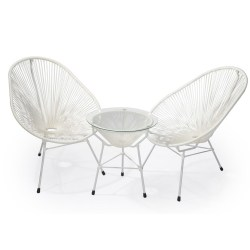 Abaca  Scoop Outdoor Occasional Chair And Side Table In White