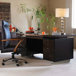 Century Furniture Seven Drawer Desk With Brown Leather Top N3E-701-2