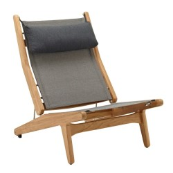 Gloster Bay Reclining Chair Buffed Teak (granite) large