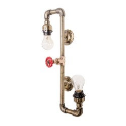 Fos Lighting Contorted Industrial Pipe double Sconce tap-updown-antq-wl2_2_