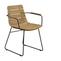 Gloster William Dining Chair With Arms - Buffed Teak (meteor) large