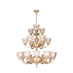 Fos Lighting Jaisalmer 3 Tier 21 Lights Brass Chandelier meenakshipnk-kapajaipuria-ch12_6_3_2_