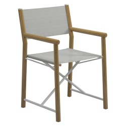 Gloster Voyager Directors Chair - Buffed Teak / Standard Sling (seagull) large