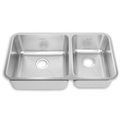 American Standard Prevoir Stainless Steel Undermount 32-7/8 Inch by 18-3/4 Inch 2-Bowl Combo Kitchen Sink