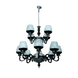 Fos Lighting Black & Silver Gothic 12 Light 2 Tier Aluminium Chandelier allu-blacksilver-panblacketch-ch8_4_32_