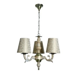 Fos Lighting Golden White 3 Light Mini Chandelier In Brocade Shades allu-whiteantq-brocadeshade-ch3_9_