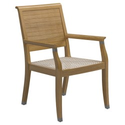Gloster Arlington Dining Chair With Arms - Buffed Teak large