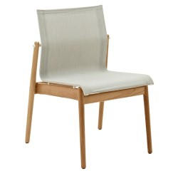 Gloster Sway Teak Stacking Chair Buffed Teak (white / Seagull) large