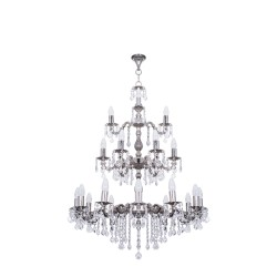 Fos Lighting Dainty English Silver Antique Crystal 3 Tier 21 Light Chandelier mf-ch12_6_3_2_