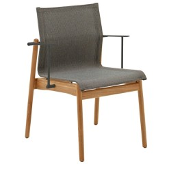 Gloster Sway Teak Stacking Chair With Arms Buffed Teak (meteor / Granite) large
