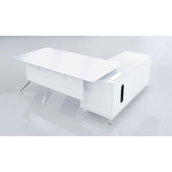Boss's Cabin Sharp 6.5 Ft. White Office Table With Side Cabinet - Bctsh-11c IMAGE