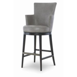 Century Furniture Leather Swivel Bar Stool PLR-3856B-GRANITE